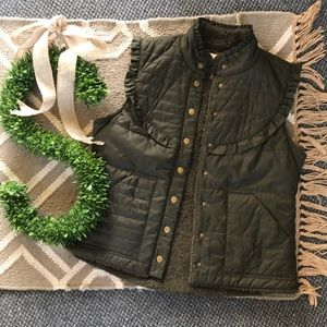 Free People Vest Army Green Faux Sherpa Lined